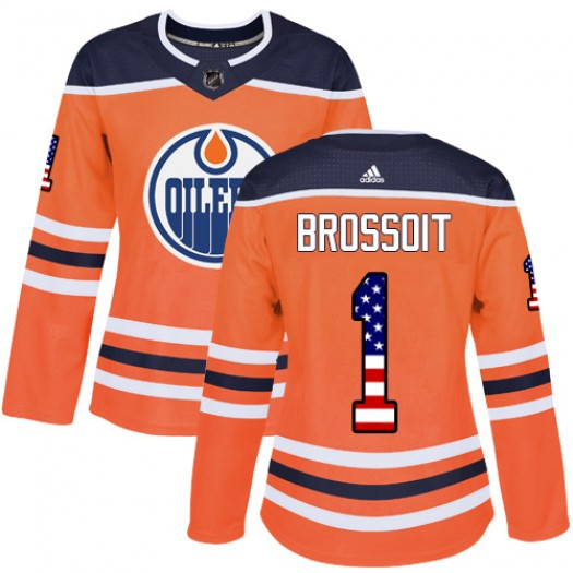 Laurent Brossoit Edmonton Oilers Women's Adidas Authentic Orange USA Flag Fashion Jersey