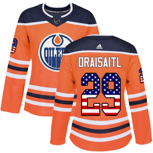 Leon Draisaitl Edmonton Oilers Women's Adidas Authentic Orange USA Flag Fashion Jersey