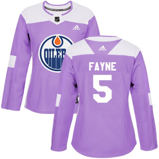 Mark Fayne Edmonton Oilers Women's Adidas Authentic Purple Fights Cancer Practice Jersey