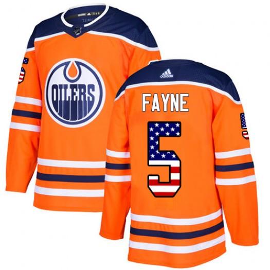 Mark Fayne Edmonton Oilers Youth Adidas Authentic Orange USA Flag Fashion Jersey