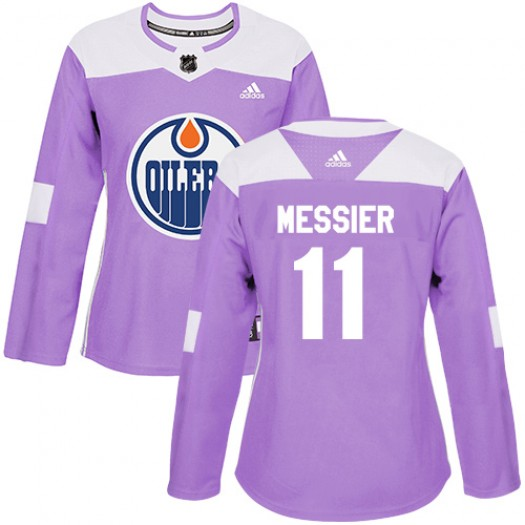 Mark Messier Edmonton Oilers Women's Adidas Authentic Purple Fights Cancer Practice Jersey