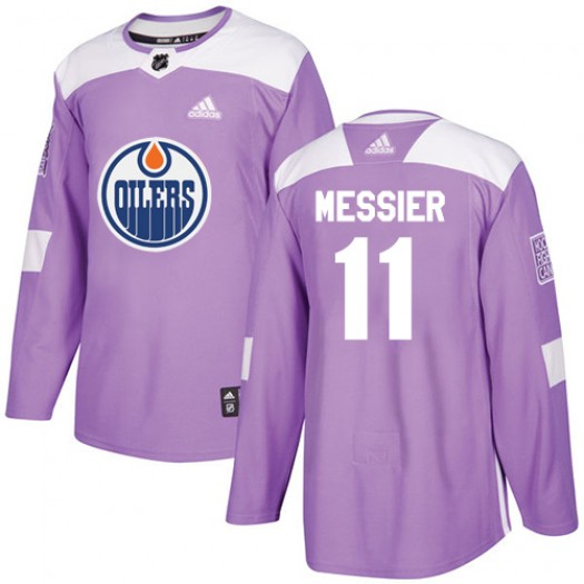 Mark Messier Edmonton Oilers Youth Adidas Authentic Purple Fights Cancer Practice Jersey