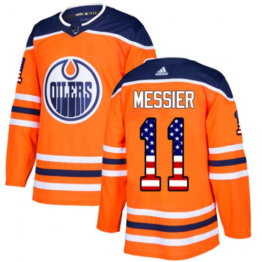 Mark Messier Edmonton Oilers Men's Adidas Authentic Orange USA Flag Fashion Jersey