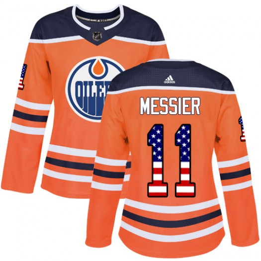 Mark Messier Edmonton Oilers Women's Adidas Authentic Orange USA Flag Fashion Jersey