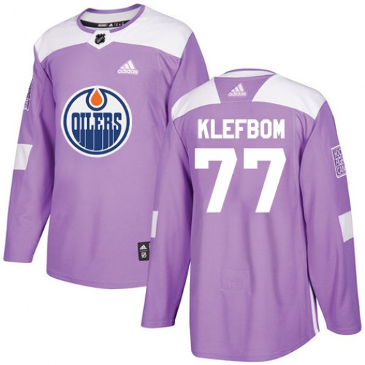 Oscar Klefbom Edmonton Oilers Men's Adidas Authentic Purple Fights Cancer Practice Jersey