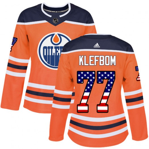 Oscar Klefbom Edmonton Oilers Women's Adidas Authentic Orange USA Flag Fashion Jersey