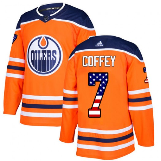 Paul Coffey Edmonton Oilers Men's Adidas Authentic Orange USA Flag Fashion Jersey