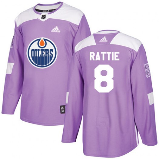 Ty Rattie Edmonton Oilers Men's Adidas Authentic Purple Fights Cancer Practice Jersey