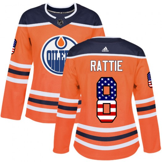 Ty Rattie Edmonton Oilers Women's Adidas Authentic Orange USA Flag Fashion Jersey