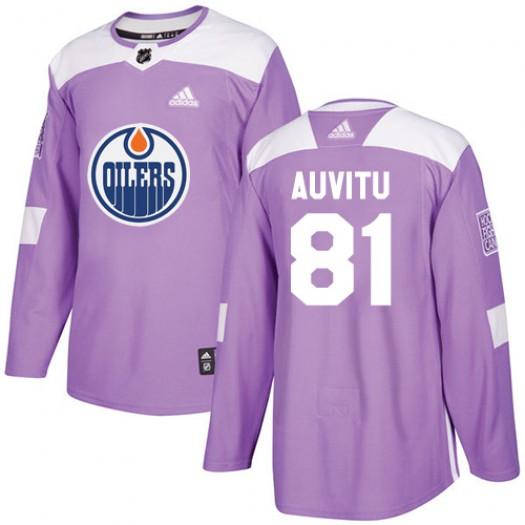 Yohann Auvitu Edmonton Oilers Men's Adidas Authentic Purple Fights Cancer Practice Jersey