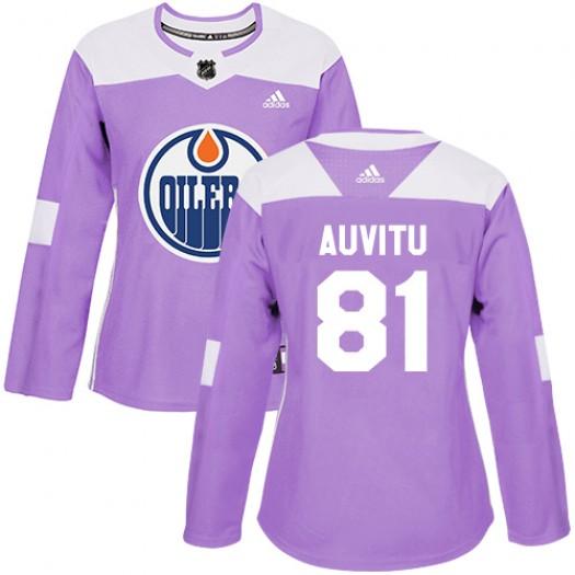 Yohann Auvitu Edmonton Oilers Women's Adidas Authentic Purple Fights Cancer Practice Jersey