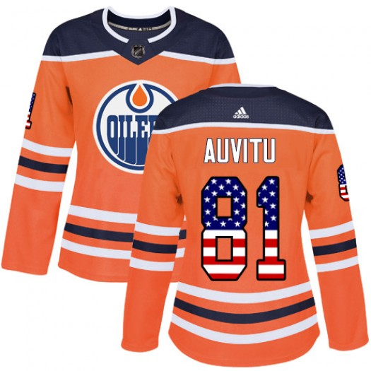 Yohann Auvitu Edmonton Oilers Women's Adidas Authentic Orange USA Flag Fashion Jersey
