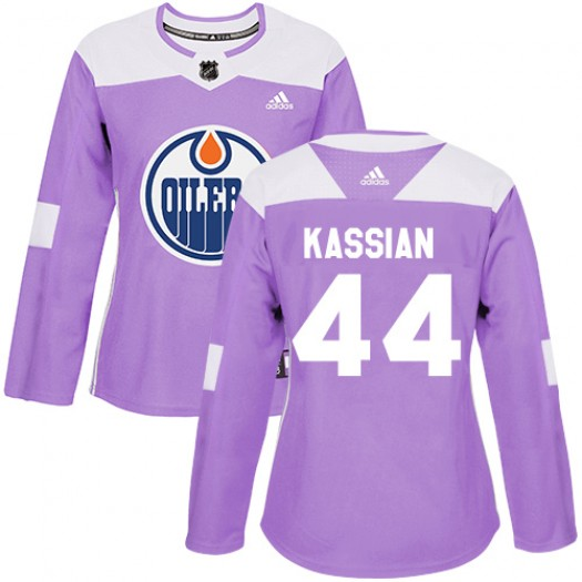 Zack Kassian Edmonton Oilers Women's Adidas Authentic Purple Fights Cancer Practice Jersey