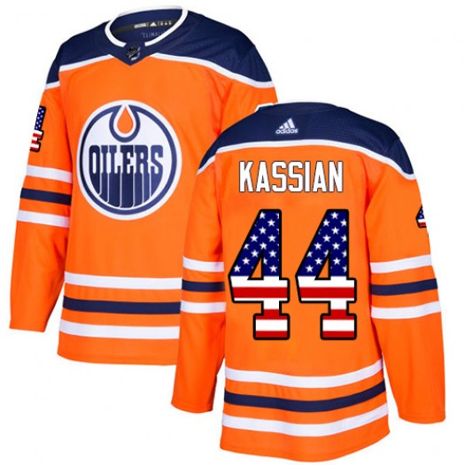 Zack Kassian Edmonton Oilers Men's Adidas Authentic Orange USA Flag Fashion Jersey