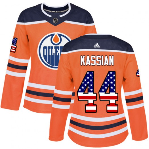 Zack Kassian Edmonton Oilers Women's Adidas Authentic Orange USA Flag Fashion Jersey